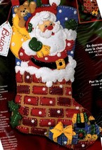 Bucilla Down the Chimney Santa Toys Christmas Holiday Felt Stocking Kit 84947 - $72.95