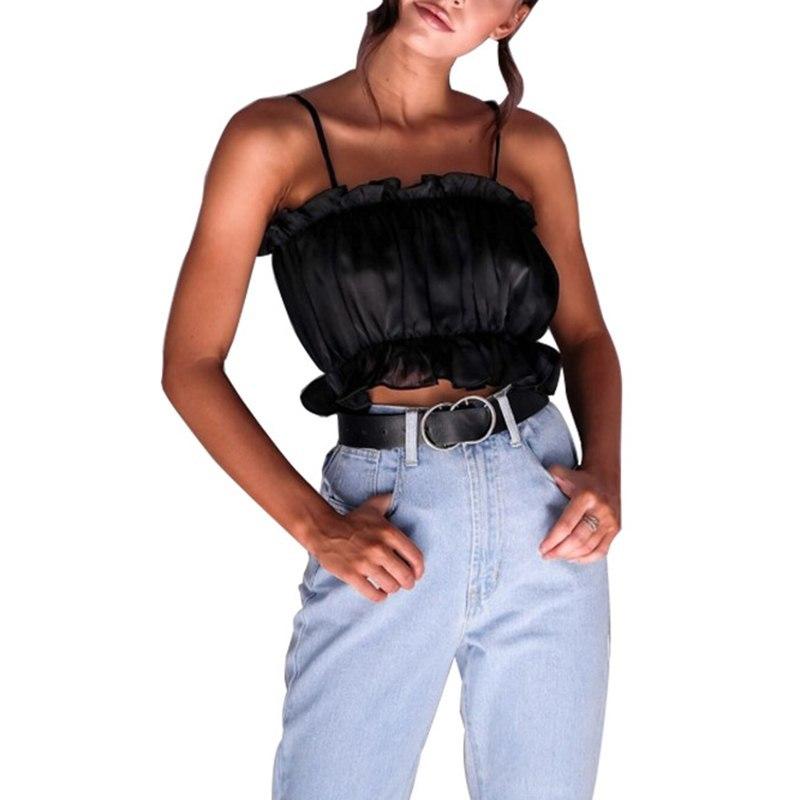2018 new summer women sexy spaghetti strap ruffles splicing blouse female pure c
