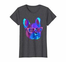 Dad Shirts - Night Neon Dog T-shirt EDM Techno Frenchie Wearing Glasses ... - $19.95