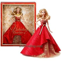 "NEW Collector Edition 12"" Doll Set 2014 HOLIDAY BARBIE in Red Floor Leng... - $59.99"