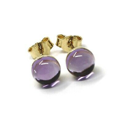 18K YELLOW GOLD BUTTON LOBE EARRINGS, CABOCHON PURPLE AMETHYST DIAMETER 6mm