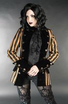 Brown Black Striped Goth Victorian Steampunk Jacket Short Pirate Princes... - $119.99