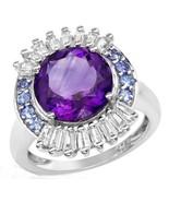Ladies Ring - 5.45ctw Precious Stones-Genuine Amethyst,Tanzanites&Topaze... - $69.29