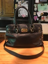 Michael Kors Hamilton Black Leather Shoulder Bag  - $72.99