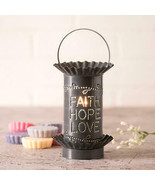 Rustic Mini Wax Warmer With ChurchHopeLove Punched Tin Shade In Country ... - $41.68