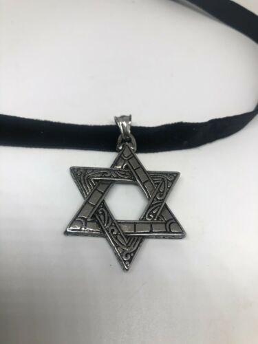 Vintage Deco Star Of David Pendant Choker Necklace Stainless Steel image 5