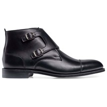 Handmade Men's Black Two Tone Double Monk High Ankle Leather Boots image 4