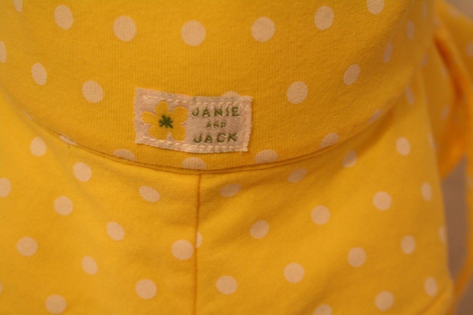 Janie & Jack Child Reversible Sun Hat Green daisy yellow polka dot w/adjust ties image 5