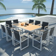 "vidaXL Outdoor Dining Set 11 Pieces WPC 65""x39.4""x28.3"" Patio Garden Fur... - $582.99"
