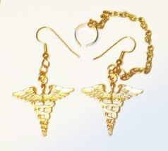 Classic Star Trek Medical Caduceus Loop and Cuff Gold Toned Earrings NEW... - $11.64