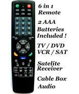 Universal Remote Controller 6 in 1 TV DVD VCR Satellite Receiver Cable B... - $8.99