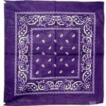 "Wholesale Lot 6 22""x22"" Paisley Violet Purple Bandana - $14.88"