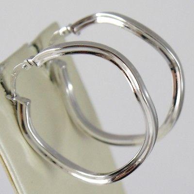 WHITE GOLD EARRINGS 750 18K CIRCLE, WAVY, SQUARED, DIAMETER 3 CM