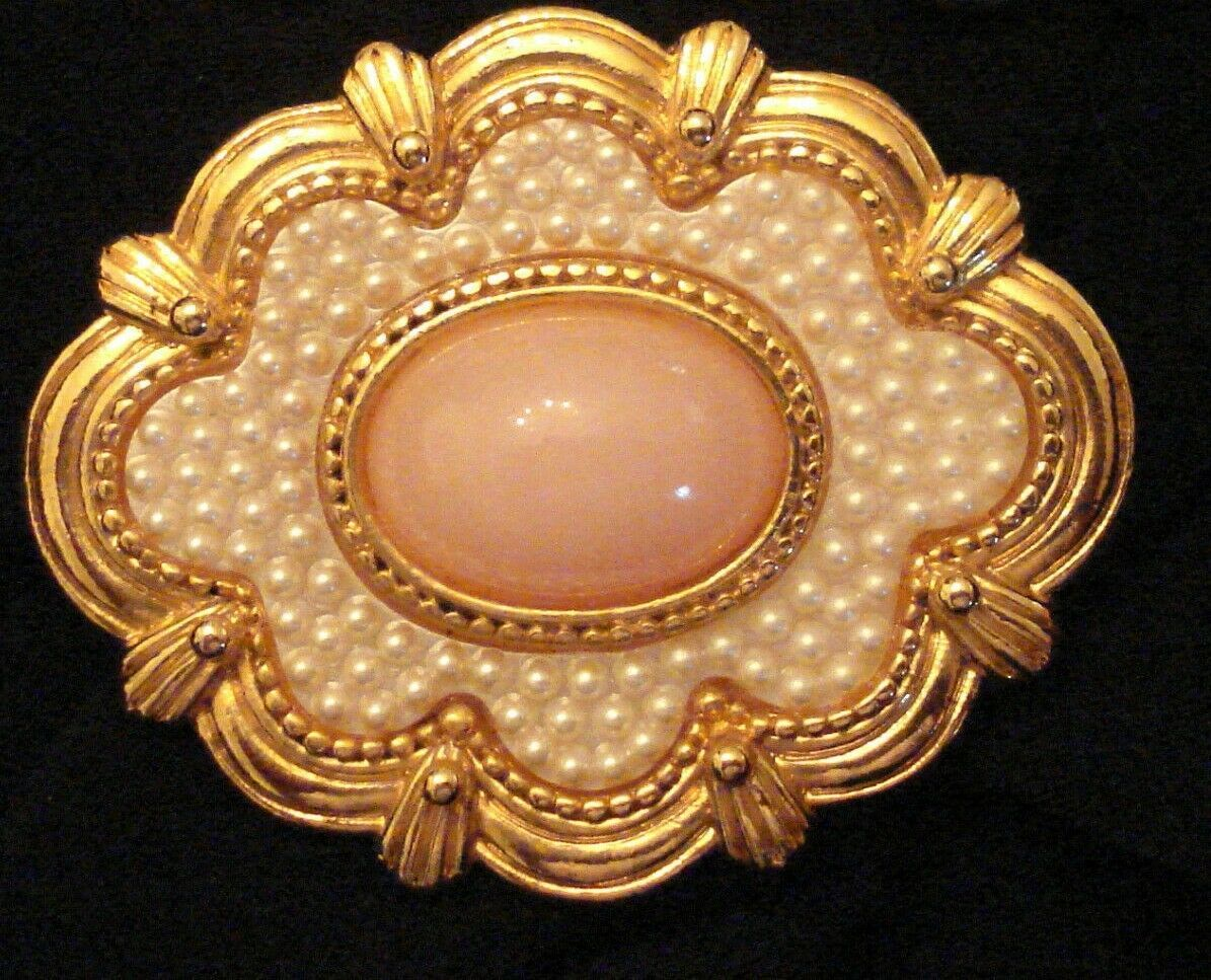 Primary image for Avon BROOCH Textured Faux Coral Pin VTG VICTORIAN Style Seed Pearl