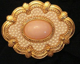 Avon BROOCH Textured Faux Coral Pin VTG VICTORIAN Style Seed Pearl - $19.79