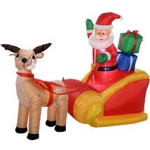 Christmas Pre-Lit Santa Reindeer Inflatable with LED Lights Fan 180 cm L... - $96.83