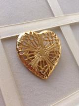 Vintage Gold Tone Large Filigree Heart Fashion Brooch - $25.00