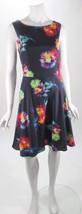 Betsey Johnson Navy Prism Floral Print Sleeveless V Back Knee Length Dress Sz 8 - $47.72