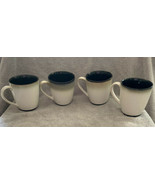 4 SANGO Nova Black COFFEE MUG #4932 Tea Cups Black Sand & Cream Stonewar... - $25.96