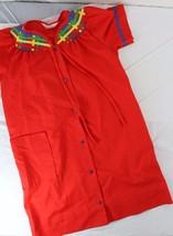 Vintage Dan Ellen Sz Small House Dress robe red snap front knee length - $15.00
