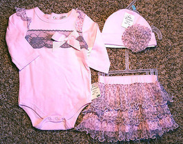 NWT Girl's Size 6 M 3-6 Months 3 Piece Pink Gray Animal Print Tulle Top,... - $25.00