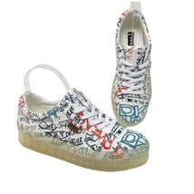 DKNY Women's 9.5 Graffiti Sneaker Streetwear NEW K1044529 LEATHER NYC Pl... - $74.69