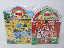 Melissa & Doug Reusable Puffy Sticker Play Sets LOT OF 2 SAFARI & FARM - $12.99