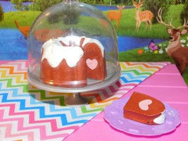 """18"""" Doll Red Velvet Sponge Cake Stand Lid fits Our Generation and American Girl - $21.77"""