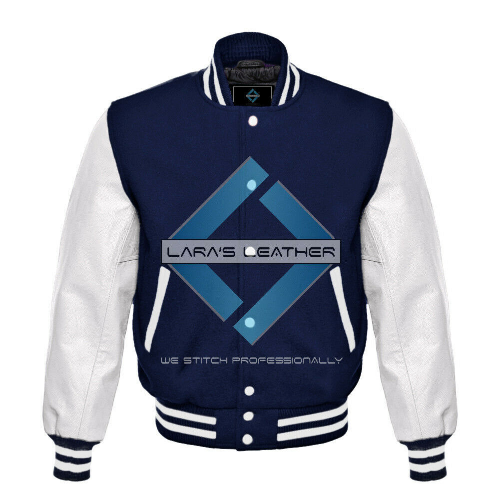 Primary image for Top College Letterman Varsity Navy Wool Jacket/Real White Leather Sleeves XS-4XL