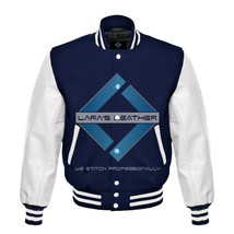 Top College Letterman Varsity Navy Wool Jacket/Real White Leather Sleeve... - $88.20