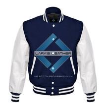 Top College Letterman Varsity Navy Wool Jacket/Real White Leather Sleeve... - $88.20