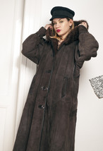 70s vintage shearling hooded leather coat - $76.47