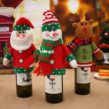 Wine Bottle Cover Bags Merry Christmas Decorations for Home Santa Claus ... - $9.00