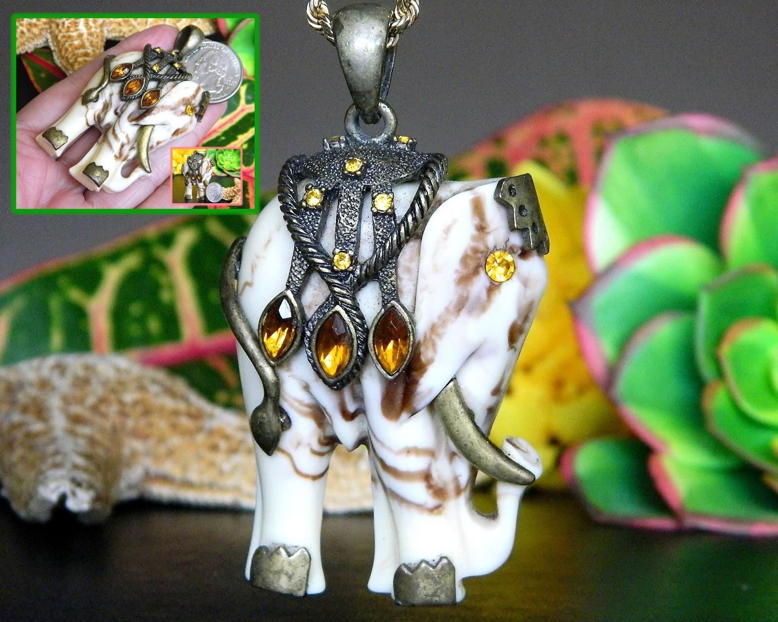 Vintage Indian Elephant Pendant Ornate Marbled Brass Trim Figural