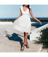 New white lace V neck knee length backless sexy women dress spring summe... - $42.00