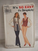 Vintage 1993 Simplicity Sewing Pattern 8662 Pull on Pants & Lined Vest S... - $6.92