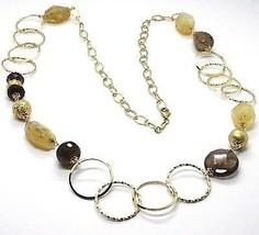 925 Silber Halskette,Gelb,Citrin,Quarz Rauchglas,Lang 85 CM,Kreise - $157.15