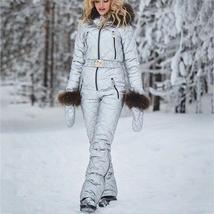 Womens Ski Suit Windproof Jumpsuit Hooded Playsuit Winter One Piece Snowsuit Glo image 8