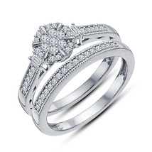 Women's Round Diamond 14K White Gp 925 Silver Claw Setting Bridal Ring Set - $53.99
