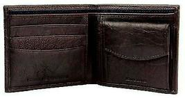 NEW TOMMY HILFIGER MEN'S PREMIUM LEATHER COIN WALLET YEN BILLFOLD BROWN 5647/02 image 7