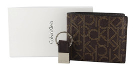 Calvin Klein Ck Men's Leather Bifold Id Wallet Key Chain Set Rfid Brown 79544