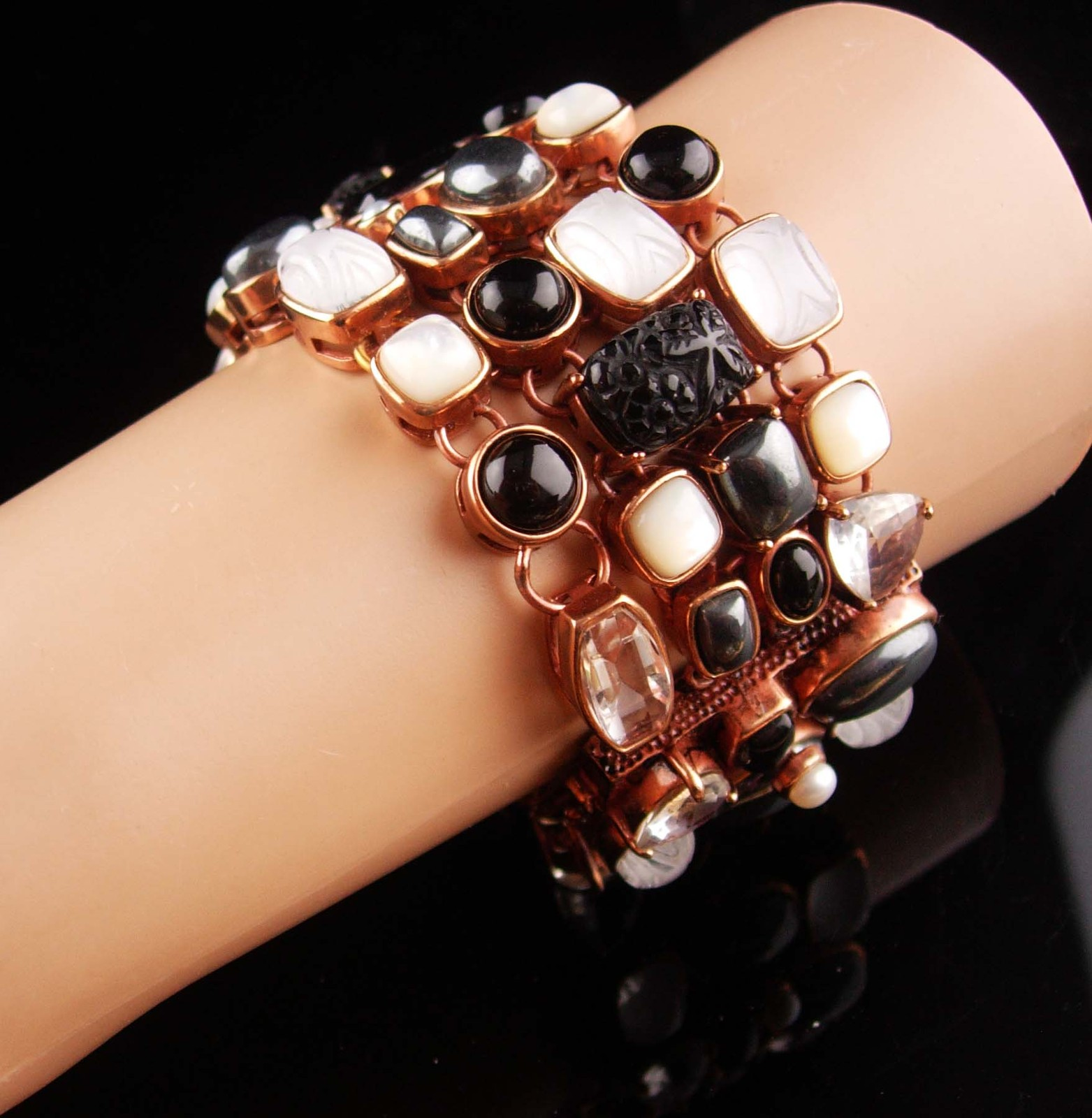 Amy Kahn Bracelet - carved black onyx - Pearl - Hematite - bronze cluster wide b image 2