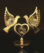 CRYSTAL ELEMENT STUDDED LOVE DOVES FIGURINE 24K GOLD PLATED #CRT15 - $47.17