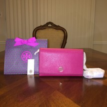 NWT Tory Burch Robinson Chain Wallet in Raspberry with Tory Gift Bag - $222.53