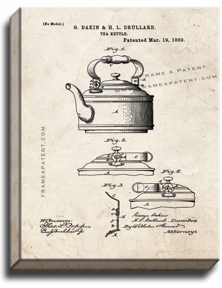 Primary image for Tea Kettle Patent Print Old Look on Canvas