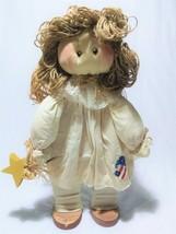 Country Angel Doll Americana Primitive Folk Art Jute Hair Raffia Bows St... - $35.00