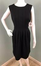NWT Womens Anne Klein Sleeveless Black Pleated Front Sheath Dress Sz 10 - $34.64