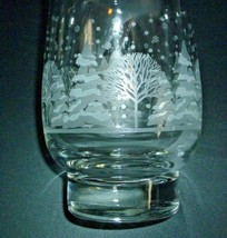 "4 Arby White Winter Tree Snow Christmas Glasses Tumbler 5 1/4"" tall Gold... - $28.66"