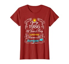 New Tee -  Sunshine July 1986 32th Birthday T-Shirt Hurricane Funny Tee Wowen - $19.95+