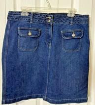 Women's Per Se Denim Skirt Size 14 Short Blue Jean Pockets Straight  - $17.88